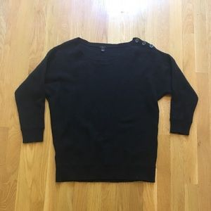 Ann Taylor Lambswool Blend Crewneck Sweater Black
